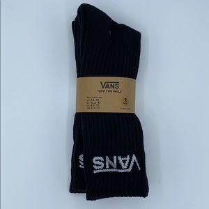 VANS Classic Black Crew Socks 3 Pack